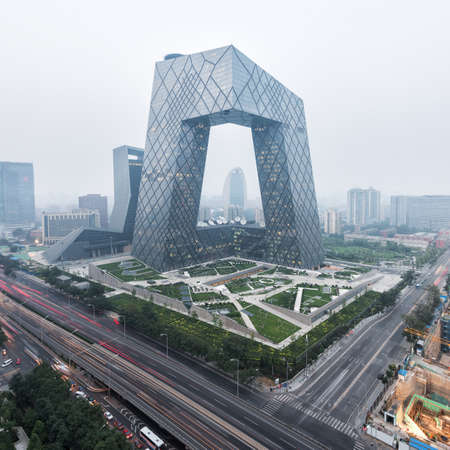 futuristic city: Haze in Beijing China Central Television Tower Stock Photo