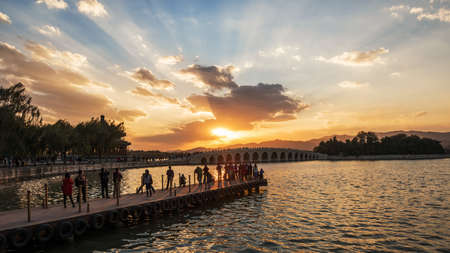 summer palace: Under the setting sun Beijing the Summer Palace
