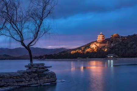the summer palace: Beijing Summer Palace Night Editorial