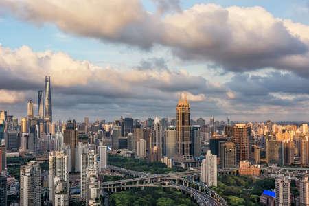 Sunset urban landscape Shanghai, China