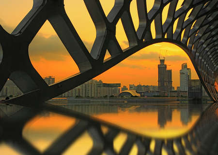 venues: Shenzhen Universiade venues, architectural photography of spring cocoons, Twilight
