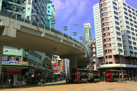 sham: Sham Shui Po, Hong Kong Road crossing viaduct architecture landscape