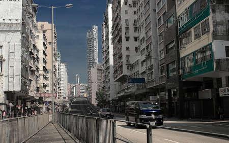 po: Sham Shui Po, Hong Kong Street road building scenery