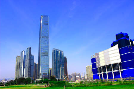 reigns: Building in West Kowloon in Hong Kong elements square Stock Photo