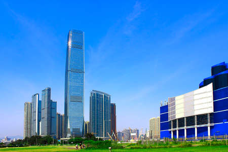 reigns: Building in West Kowloon in Hong Kong elements square Editorial
