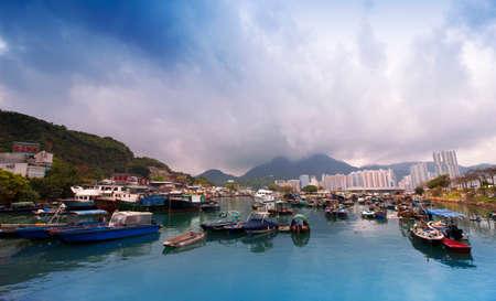 Hong Kong, Yau Tong, Lei Yue Mun typhoon shelter fishing boats