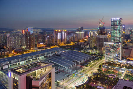 futian: Night view of Shenzhen Convention and Exhibition Center