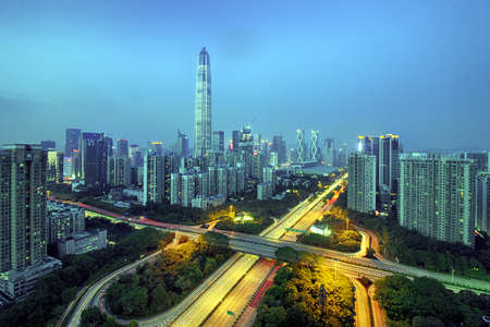 Urban roads and buildings in Shenzhen