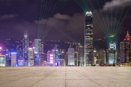 Hongkong modern architecture and blank floor, night sky and city skyline