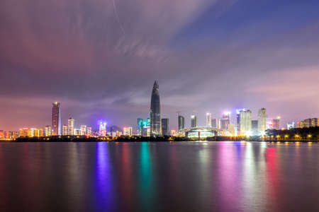 The bright lights and buildings of the Gulf of Shenzhen