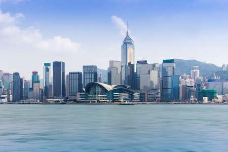 香港ビクトリア ・ ハーバーのスカイライン 写真素材