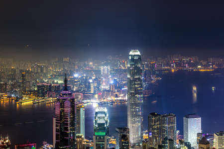 The skyline of Hongkong on both sides of Victoria Harbour