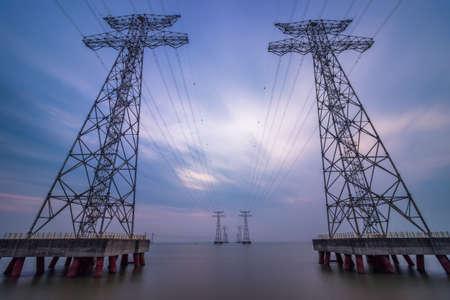 High voltage transmission line on the West Bay Park, Shenzhen Stock Photo