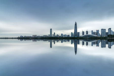 Dusk at the Huarun super headquarters in Shenzhen Bay, Houhai