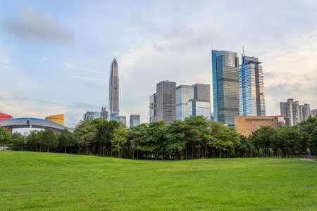 Buildings and grass in the centre of Shenzhen Editorial