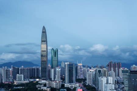 Skyline of skyscrapers in downtown Shenzhen 新聞圖片