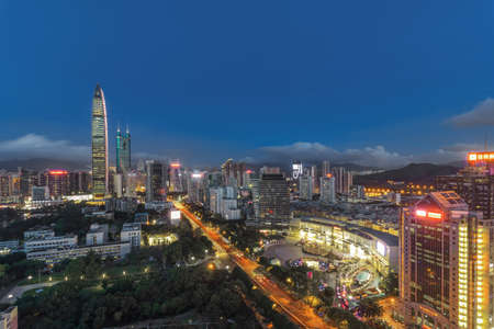 Skyline of skyscrapers in downtown Shenzhen Editorial