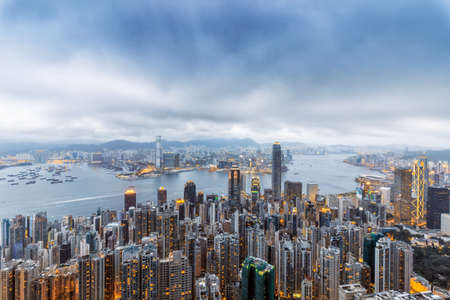 Hongkong Taiping mountain overlooking Victoria Harbour Stock Photo