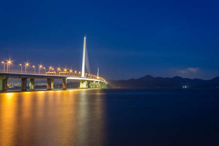Night view of Shenzhen Bay Bridge