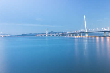 The Shenzhen Bay Bridge over the sea