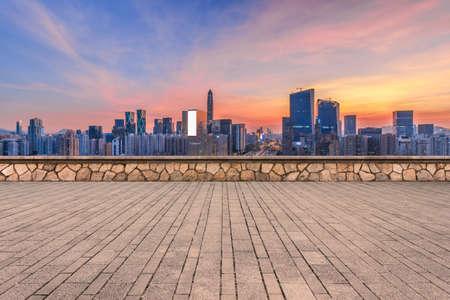 Blank, no mans floor and dusk of Shenzhen architecture