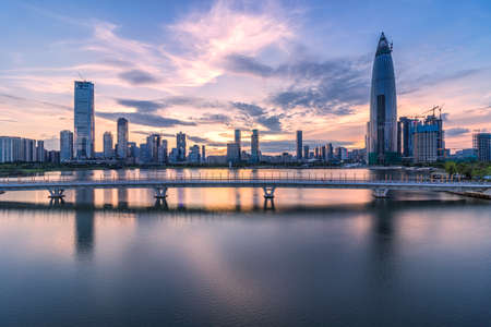 Shenzhen, Houhai, talent Park and the evening of city architecture