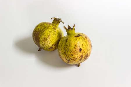 흰색 배경에 석류