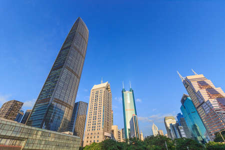 Skyscrapers in Shenzhen under the blue sky