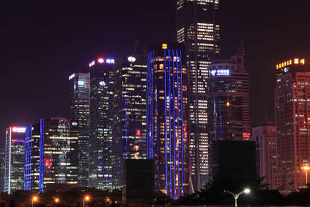 Night buildings in Shenzhen Editorial
