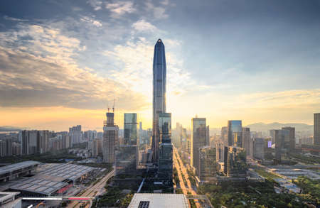 The twilight skyline of Shenzhen 写真素材