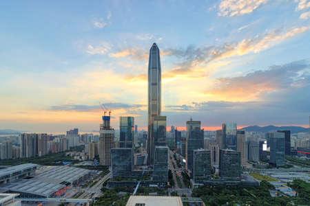 The twilight skyline of Shenzhen Фото со стока
