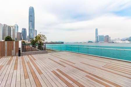 Hongkong skyline and no mans seashore square