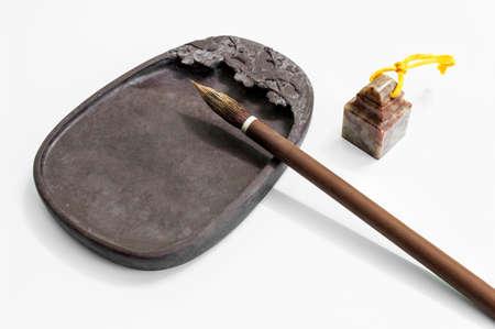Inkstone, brush and seal 스톡 콘텐츠