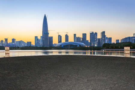 Shenzhen Bay skyline and no people square