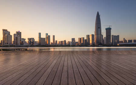 Shenzhen skyline and seashore Observatory Stock Photo - 98084054