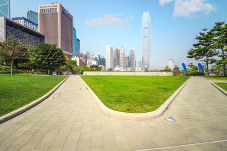 Hongkong city building and park lawn square