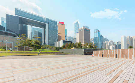 Hongkong central financial buildings and outdoor flooring Stock Photo