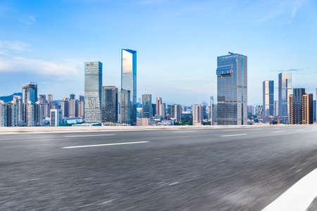 Skyline and motorized lane of Shenzhen high new  Science Park