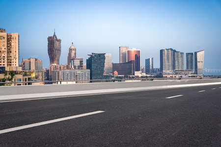 Urban buildings and motorized lanes in Macao