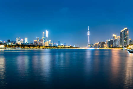 The skyline of the night in Guangzhou Stock Photo