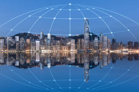 The concept of urban architecture and network data in Hongkong Reklamní fotografie