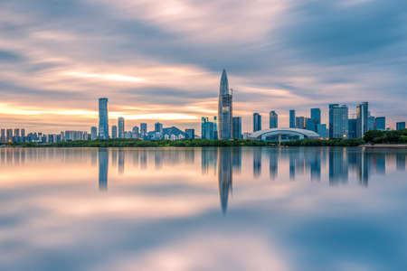 The dusk of the Gulf of Shenzhen Stock Photo