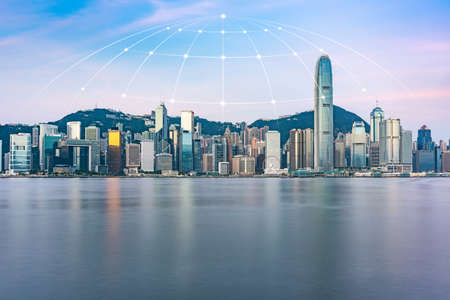 Hongkong urban skyline and the concept of science and technology