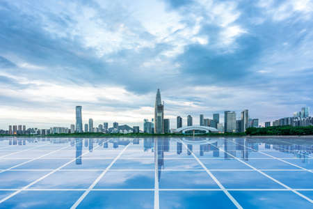 Shenzhen Bay's architectural complex and big data concept Stock Photo