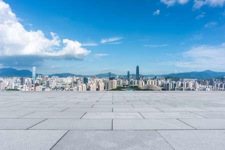 Shenzhen city skyline and outdoor unmanned floor