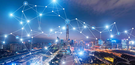 Shenzhen city rapid development and busy 5G data network space