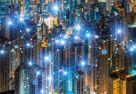 Hong Kongs dense residential area and 5G network concept