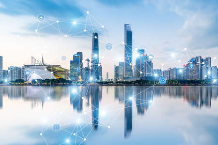 Guangzhou city rapid development and busy data network space