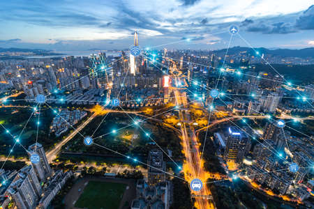 Shenzhen City Scenery and High-tech Network Concept