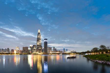 Shenzhen Bay Houhai CBD night skyline